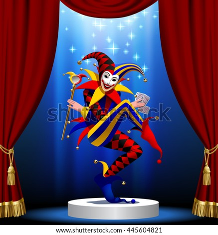 Joker with playing cards and mirror in blue light on the round podium framed by red curtain. Vector illustration - stock vector