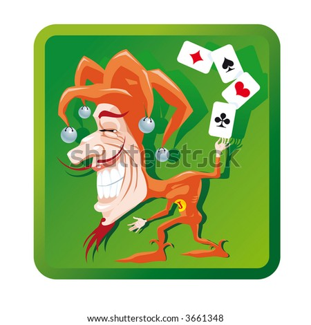 Joker with poker aces cards. Vector EPS-File.