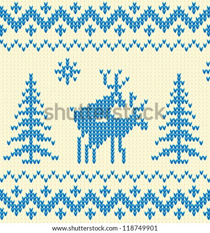 Joking white and blue knitted Christmas ornament with deers. Vector illustration. - stock vector