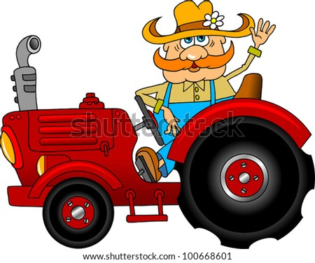 Jolly Farmer goes on a red tractor (vector illustration); - stock vector