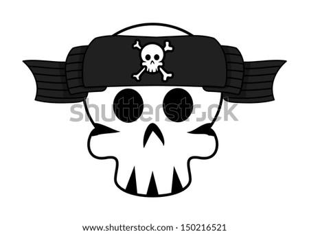 Jolly Roger Banner Over Skull Forehead - Vector Cartoon Illustration - stock vector