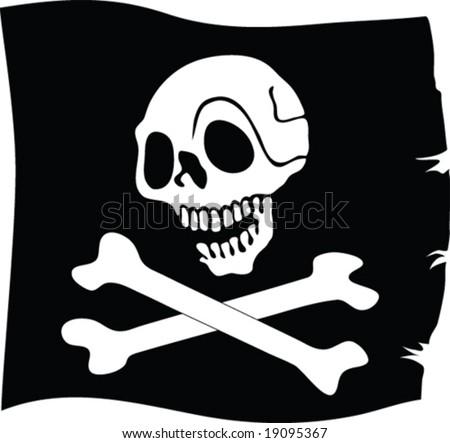 jolly roger flag - vector - stock vector