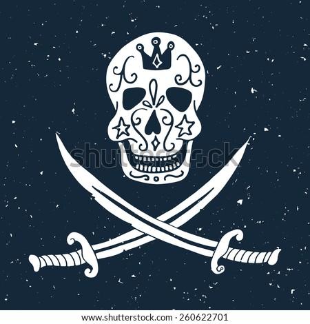 Jolly Roger. Hand drawn illustration of skull with swords. - stock vector