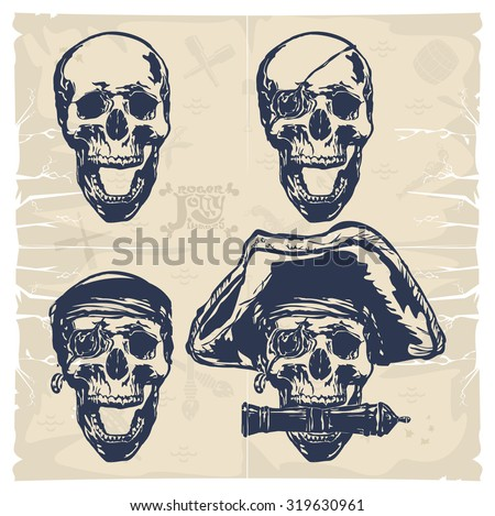 Jolly Roger images. Pirate head, vector