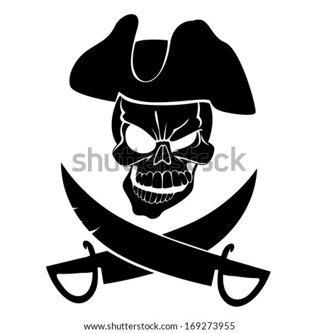 Jolly Roger in a cocked hat with sabers - stock vector
