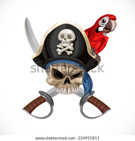 Jolly Roger in pirate hat and with sabers and red parrot - stock vector