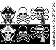 Jolly Roger, Pirate attributes, Skull and Crossbones silhouette - stock vector