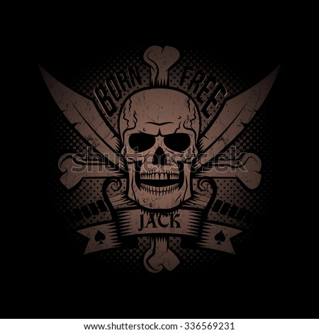 Jolly Roger with crossed sabers and ribbon on a black background.