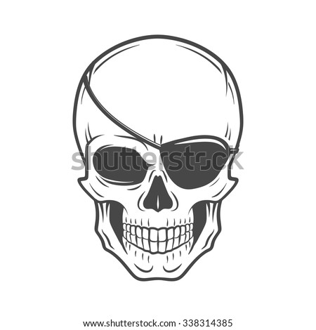 Jolly Roger with eyepatch logo template. Evil skull vector. Dark t-shirt design. Pirate insignia concept. - stock vector