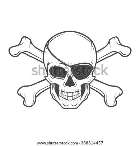 jolly roger eyepatch logo template evil stock vector 338314457