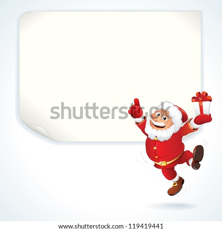 Jolly Santa Claus Pointing at the Blank Sale Sign. Christmas Series. - stock vector