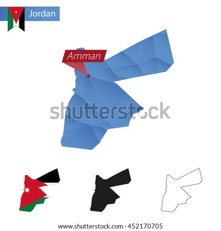 Jordan blue Low Poly map with capital Amman, versions with flag, black and outline. Vector Illustration. - stock vector
