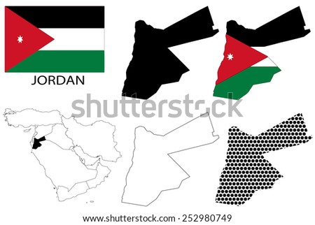 Jordan - Flag, four vector map contours and Middle East map - stock vector