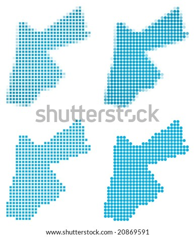 Jordan map mosaic set. Isolated on white background. - stock vector