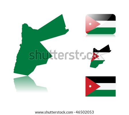 Jordanian map including: map with reflection, map in flag colors, glossy and normal flag of Jordan. - stock vector