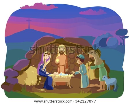 Josef, Mary and the Baby in the manger.Shepherds came to worship the King. Signs od Christ mission on Earth: opened cave and the cross. - stock vector