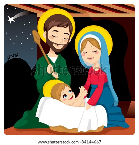 Joseph and Mary joyful with baby Jesus laughing and three wise kings on the horizon following the Star of Bethlehem - stock vector
