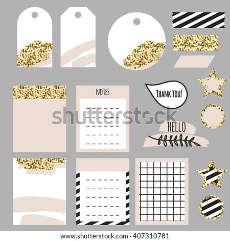 Journaling planner card notes and tags. Memo stickers for organizers and diary. Gold glitter and pastel pink accents decor. - stock vector