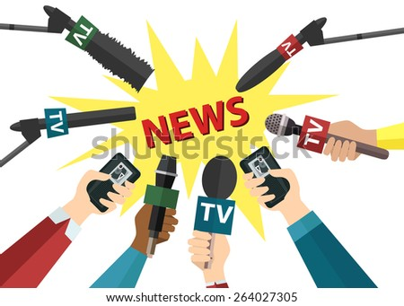 Journalism and press concept with hands holding microphones and voice recorders.Hot news template.   Flat style design. Vector illustration. - stock vector