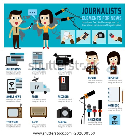 journalism concept.infographic elements.modern flat icon.vector illustration. - stock vector