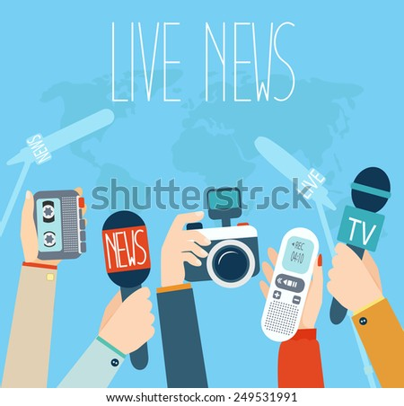 Journalism concept vector illustration in flat style.Vector live report concept, live news, hands of journalists with microphones, camera and tape recorders. - stock vector