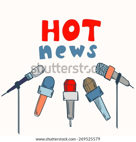 Journalism concept vector illustration with microphones and hot news text, press concept idea - stock vector