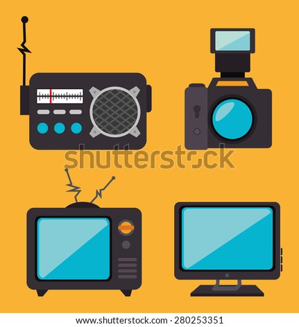 Journalism design over yellow background, vector illustration.