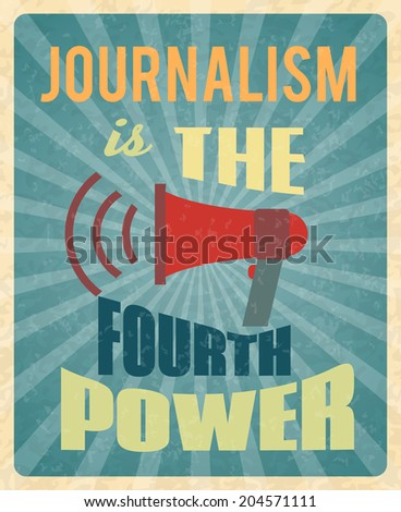 Journalism press news reporter profession poster with red megaphone and text vector illustration - stock vector