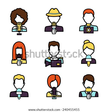 Journalist avatar mass media news reporter characters set isolated vector illustration
