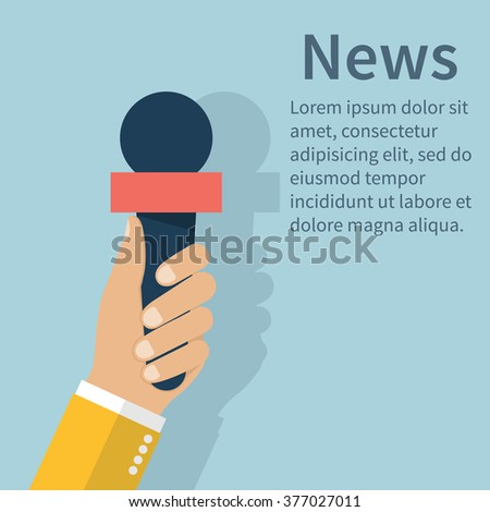 Journalist holding microphone. Journalism concept . Live news template. Interview,  news, reporter, press, isolated, interviewer, media, paparazzi. Vector. - stock vector
