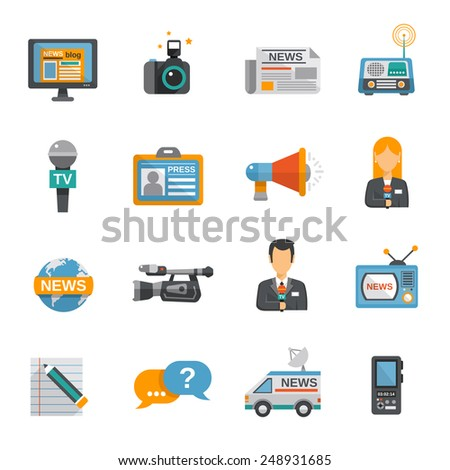 Journalist icon flat set with camera microphone tv van isolated vector illustration - stock vector