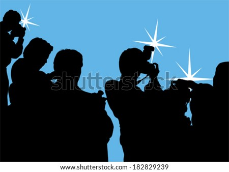 Journalist man with a photo camera - stock vector