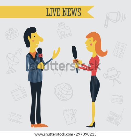 Journalist news reporter interview holding microphones on background of hand drawn  mass media icons. Vector illustration cartoon. Live news concept  - stock vector