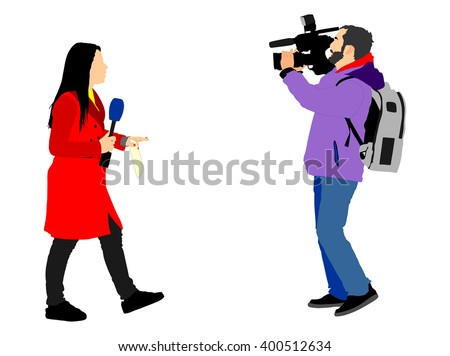 Journalist News Reporter Interview With Camera Crew Vector Illustration Isolated TV Interviewed People On