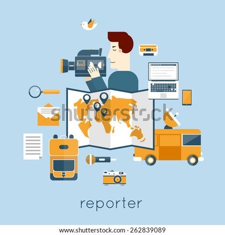 Journalist, paparazzi profession. Live broadcast, photo, camera, interview, map, van, microphone, operator. Web elements. Flat vector illustration. - stock vector