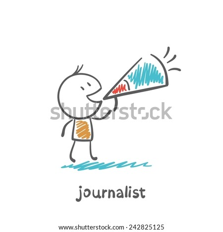 journalist says speaker illustration - stock vector