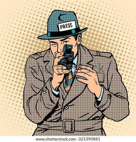 Journalist takes on retro camera. Paparazzi snooping tabloid press pop art - stock vector