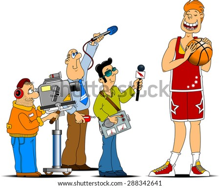 journalist with a big tape recorder and microphone interviews;  - stock vector