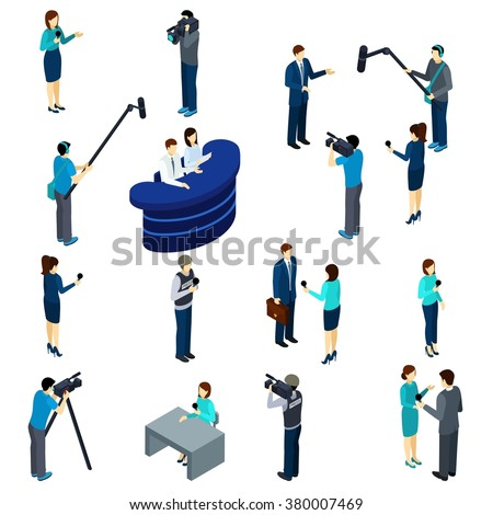 Journalists at work isometric icons set of conducting interviews reporting and broadcasting professionals abstract isolated vector illustration - stock vector