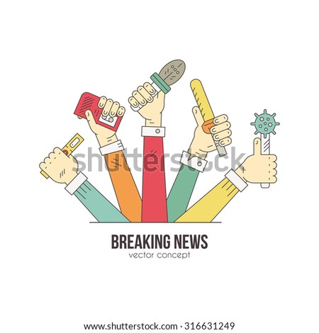 Journalists hands with microphones and recording devises - media and press illustration. News or blog logotype concept made in modern line style vector. Paparazzi or live news illustration.  - stock vector