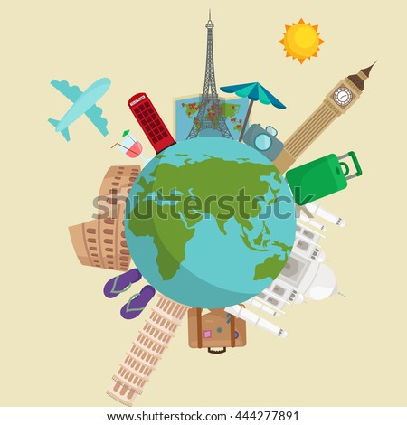 Journey concept for tourist agencies or shops, happy holiday and sights from around the world Eiffel Tower the Taj Mahal, traveling by plane the with suitcase map, set the traveler