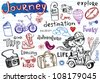 Journey, set of funky doodles - stock vector