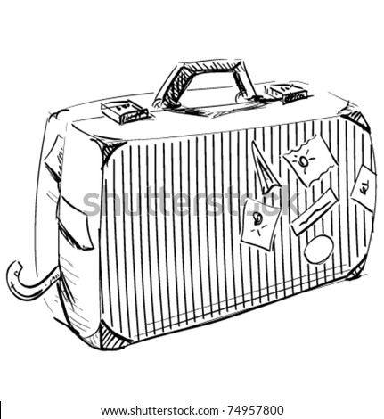 Journey suitcase hand-drawn sketch vector illustration - stock vector