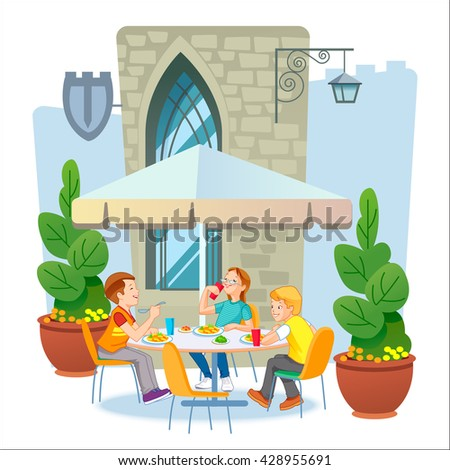 Journey through Europe. The children who eats lunch. - stock vector