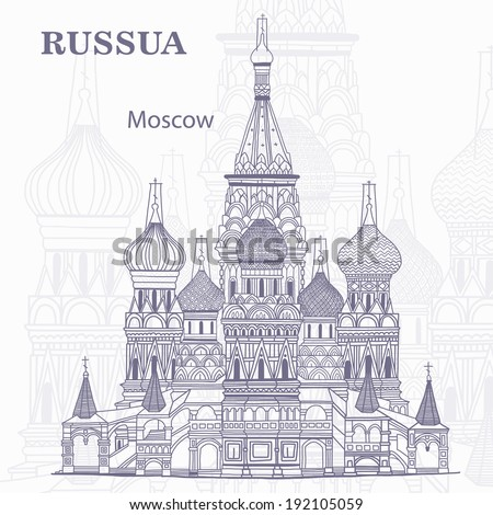 Journey to Russia - stock vector