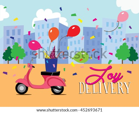Joy and celebration delivery vector illustration