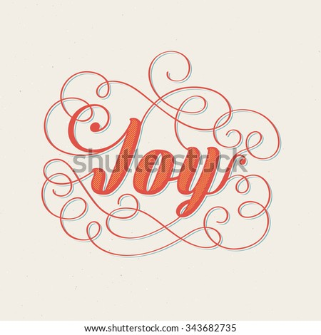 Joy - Christmas retro lettering. Vector greeting card design, grunge background. - stock vector