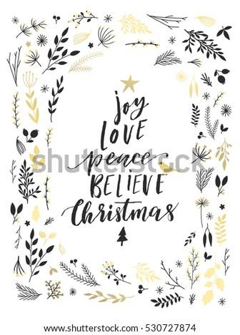 Joy Love Peace Believe Lettering Merry Stock Vector 530727874 ...