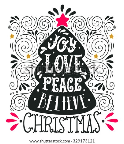 stock vector christmas greeting card with calligraphy