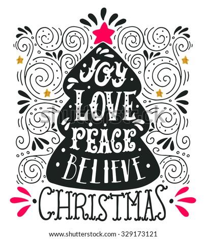 Peace Love Joy Quotes Fascinating Joy Merry Christmas Retro Poster Hand Stock Vector 340397186